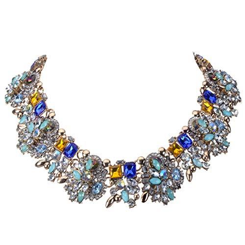 Jerollin Vintage Collana da Donna Ragazza Matrimonio Festa Regalo con Diamante Luminoso Multicolori Girocollo