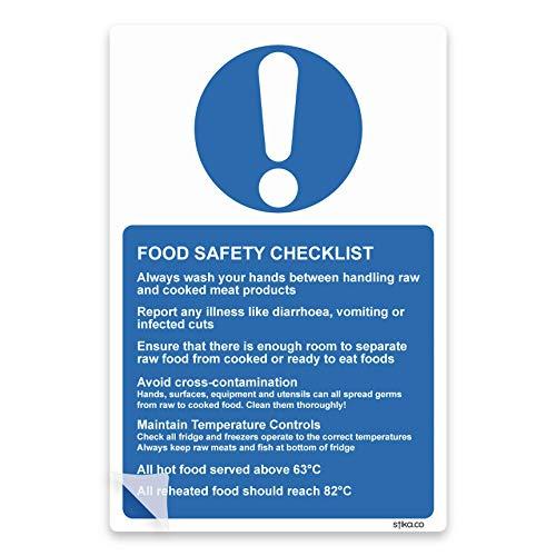 Voedselveiligheid Checklist Lijm Vinyl Sticker voor Keuken 13x20cm Gezondheid & Veiligheid Bewaarborden