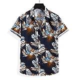 Shirt Hombres Verano Transpirable Botón Tapeta Manga Corta Hombres T-Shirt Regular Fit Vintage Print Hombres Shirt Ocio Personalidad Diseño De Moda Hombres Shirt Playa E-Black3 M