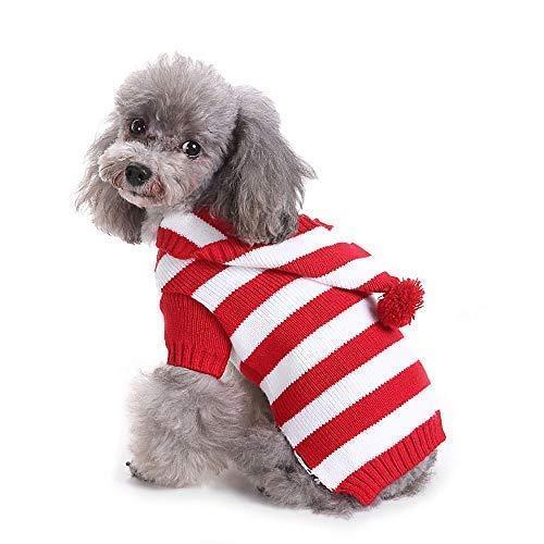 Yunison Hunde-Kürbis-Kostüm, Halloween-T-Shirt, Haustier-Kleidung, Welpen-Outfits, S, Red White Stripe