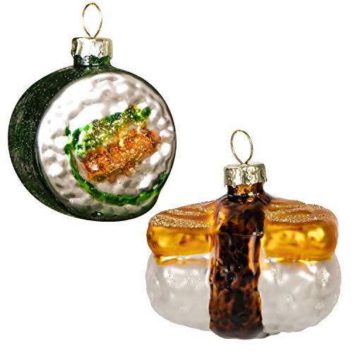 JOYIN 2-pcs Christmas Glass Blown Ornament Tamagoyaki Sushi and Sushi Roll Set Handcrafted Glass Blown Ornaments for Christmas Tree Decoration Christmas Party