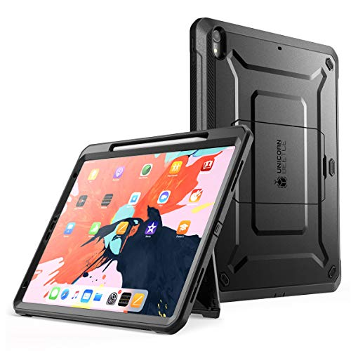 SupCase UB Pro Series Case for iPad Pro 12.9 2018, Support Apple Pencil Charging with Built-in Screen Protector Full-Body Rugged Kickstand Protective Case for iPad Pro 12.9 2018 Release (Black)