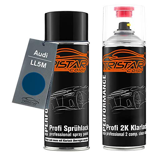 TRISTARcolor Autolack 2K Spraydosen Set für Audi LL5M Indienblau/Indian Blue Basislack 2 Komponenten Klarlack Sprühdose