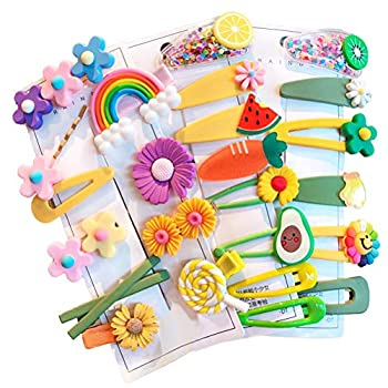 Baby Girl s Hair Clips Cute Hair Accessories Colorful Rainbow Flower Fruit Dessert Patterns Barrettes For Baby Girls Teens Toddlers Assorted styles 24pcs pieces Pack  Style8