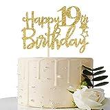 Gold Glitter Happy 19th Birthday Cake Topper - 19 Cake Topper - 19th Birthday Party Supplies - 19th Birthday Party Decorations