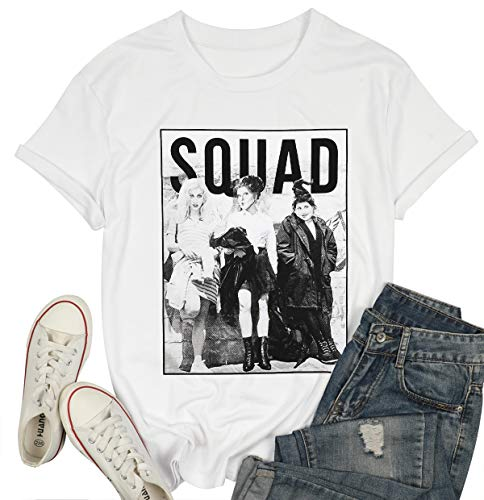 BANGELY Sanderson Sisters Squad Cute T Shirt Halloween Graphic Tees for Women Hocus Pocus Funny Shirts Fall Casual Tops (Small, White)