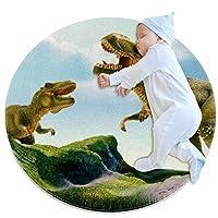 エリアラグ軽量 山の恐竜 フロアマットソフトカーペット直径27.6インチホームリビングダイニングルームベッドルーム