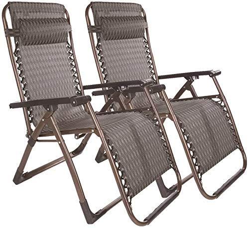 WJXBoos Juego de 2 sillones reclinables reclinables de Gravedad Cero Tumbona de jardín Utdoor Beach Lawn Camping Soporte de Silla portátil 200 kg (Color: marrón)