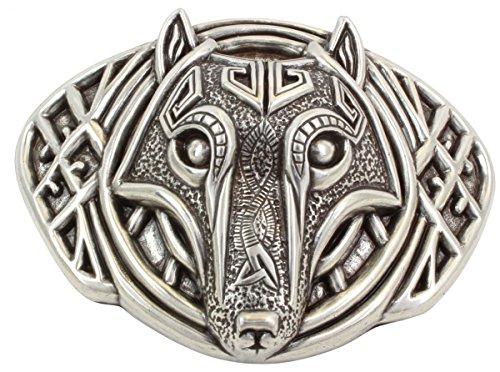 Brazil Lederwaren Gürtelschnalle Wolfkopf 4,0 cm   Buckle Wechselschließe Gürtelschließe 40mm Massiv   Wechselgürtel bis 4cm   Silber