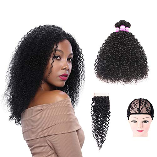 Brazilian Jerry Curly Human Hair 3 Bundles With 4x4 Free Part Lace Closure 100% Unprocessed Human Hair Weave 3 Bundles Deep Curly Hair Extensions Natural Color With Wig Cap(12' 14' 16'+10'Closure)