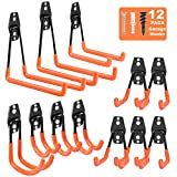 Garage Hooks Heavy Duty 12 Pack, Steel Garage Storage Hooks, Tool Hangers for Garage Wall Utility Wall Mount Garage Hooks and Hangers with Anti-Slip Coating for Garden Tools, Ladders, Bulky Items