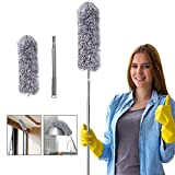 Microfiber Feather Duster for Cleaning, 100' Extension Pole Telescoping Duster, Bendable & Washable Dusters for Clean...