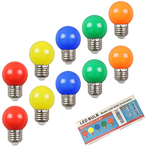 Huamu 10er-Pack farbige Glühbirnen Party Glühbirnen LED 2 W E27 G45 Beleuchtungsbirnen, bunte Golfball-Lampen, energiesparend, gemischte Farben, Rot, Grün, Blau, Orange, Gelb