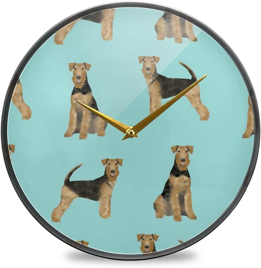 Wall Clock Round Creative Hanging Airedale quality assurance D [Alternative dealer] Terrier Clocks