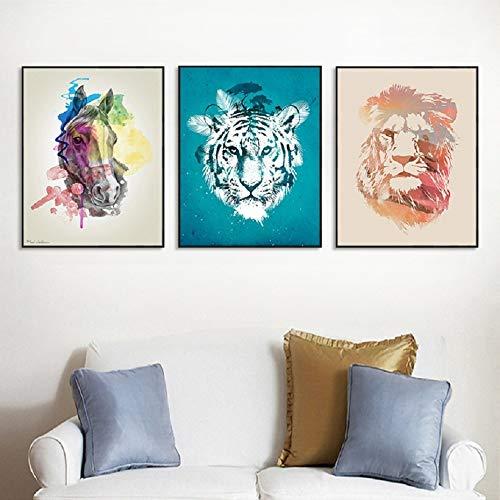 SDFSD Heiße Moderne kreative Aquarell Tiere Leinwand Gemälde dekorative Kinderzimmer Poster Drucke Wandkunst Bilder Kinderzimmer 40 * 50cm