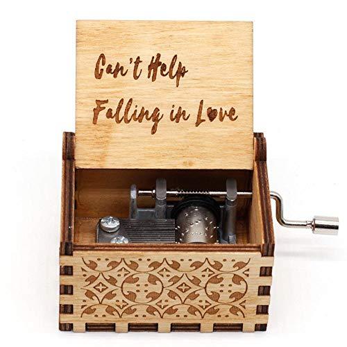 Cant Help Falling In Love Caja de música para niños tallada a mano con manivela de madera, el mejor regalo para cumpleaños