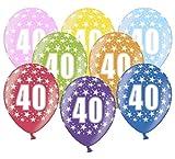 Libetui 10 kunterbunte Luftballons Nummer 40 Metallic 30cm Deko zum 40. Geburtstag 40. Jubiläum 40. Hochzeitstag Birthday Jubiläum Dekoration (Zahl 40)