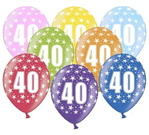 Libetui 10 kunterbunte Luftballons Nummer 40 Metallic 30cm Deko zum 40. Geburtstag 40. Jubiläum 40. Hochzeitstag Birthday Jubiläum Dekoration Zahl 40
