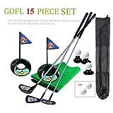 SOWOFA Golf Pro Jeu de Jouets pour Enfants en métal pour Clubs de Golf, Clubs de Golf, Football, Sport, intérieur de Jeu, Golf de 24', entraînement 17 pièces avec Sac à Dos