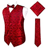 Alizeal Mens Wedding Paisley Suit Vest, Self-tied Bow Tie, 9cm Necktie and Pocket Square Set, Wine Red-M