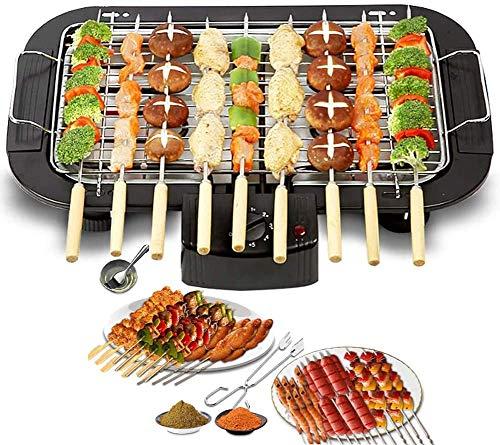 LFJY Indoor Elektro Smokeless Barbecue Grill Rauchfrei Grill zu rösten Tisch, mit 5 Einstellbare Temperatur Fit Start Abendessen Außenhof Abendessen, 1,4 Personen,Black