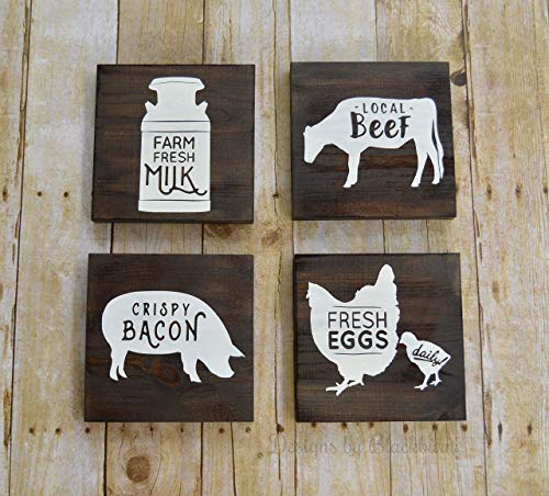Farm Animal Kitchen Wall Decor Signs, Mothers Day Gift, Farmhouse Decor, Pantry Decor, Fresh Eggs Chicken, Crispy Bacon, Farm Fresh Milk, Set of 4