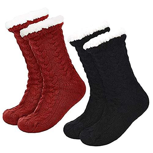 Met fleece gevoerde huissokken voor heren en dames (Red+black)