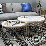 ZGQA-GQA Mesa de centro nórdico de mármol de hierro forjado simple moderno y alto y bajo creativo, mesa de café de combinación redonda (color: 55 70 cm)