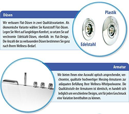 AQUADE 150x150cm Whirlpool Badewanne Indoor-Whirlpool SPA Pool Wanne 150 x 150 mit Armatur Air Relax Modell: Freiburg 7160 - 6