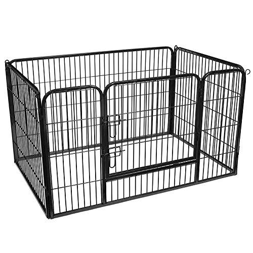 FEANDREA Recinto per Cani Box per Animali Pieghevole con Pannelli di Rete Metallica 4pz Nero 122 x 80 x 70 cm PPK04BK