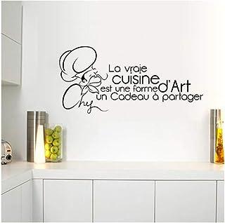 Qinyubing Cuisine Art Sticker Mural Pour La Décoration De La Maison Amovible Bricolage Noir Papier Peint Armoire Cuisinièr...