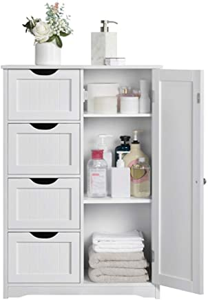 Yaheetech Wooden Bathroom Cabinet Bedroom Storage Units Cupboard/Organiser Freestanding Chest of Drawers Hallway/Floor Cabinet 56.1 x 30.1 x 82 cm(LxWxH)