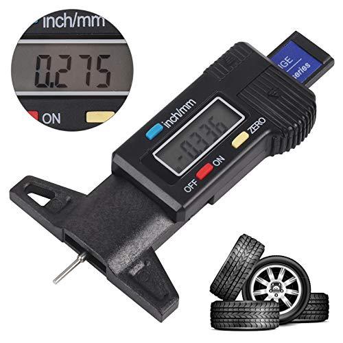 BALLSHOP Profiltiefenmesser für Reifen Digital Messing Reifenprofiltiefenmesser Tiefenmesser LCD-Display 0-25.4mm