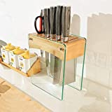 FSYGZJ Unbestückte Messerblöcke Messerblock aus gehärtetem Glas Bambus Messerhalter 10