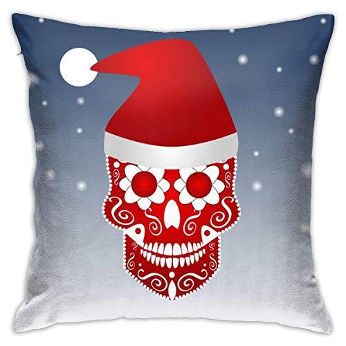 Lsjuee Throw Pillow Cover Christmas Skull Icon Adorno Sombrero de Papá Noel Funda de cojín Decorativa Throw Pillow Fundas Protectores 45x45 cm