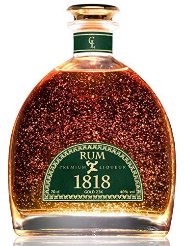 Ron XO Dominicano 1818 Premium Liqueur Gold 23K - Añejo Edición Especial - Regalo para Hombre y Mujer - Botella y Certificado del Oro - Sin Caja de Regalo - 40% 70 cl
