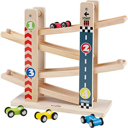 Baobë Kinder Kugelbahn Spielzeug Auto Rennbahn HolzSpielzeug mit 4 Fahrzeuge Auto,Kinderspielzeug Geburtstaggeschenke ab 18 Monate 2345Jahr Jungen und Mädchen