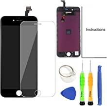 Compatible with iPhone 6 Replacement Screen Black - Compatible with iPhone 6 LCD Screen Digitizer Touch Display Frame Assembly Kit with Repair Tools + Glass Screen Protector, iPhone 6 4.7 Inch Only
