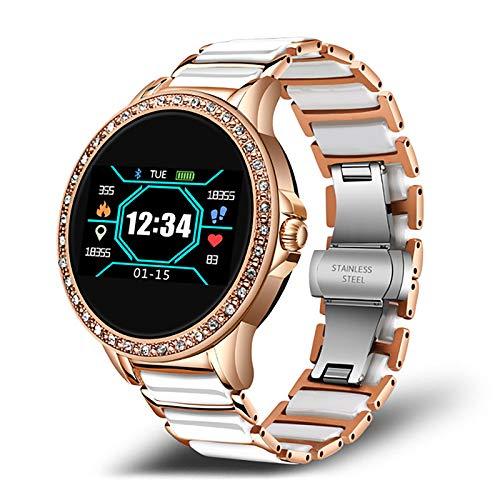 ZGZYL Damas Moda Smart Reloj De Cerámica Correa De Cerámica Pedómetro Trucidador De Fitness Sueño Presión Arterial Monitor De Ritmo Cardíaco Monitor Bluetooth Reloj Inteligente para Android iOS,C