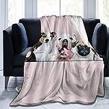 BROWCIN Lindo Bulldog Inglés Pug Labrador Chicas Divertidos Amantes de los Perros Cachorro con Flor Niños Animal Creativo Mascota para la Familia Twin/Double (150x200cm) Manta