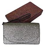 Kate Spade New York Joeley Boxed Multifunctional Wallet Wristlet Clutch WLRU5841 (Silver Glitter)