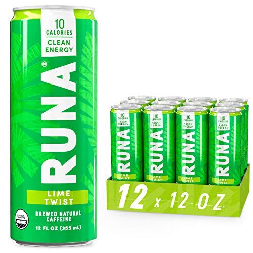 Organic Clean Energy Drink by RUNA  Lime Twist | Refreshing Tea Taste | 10 Calories | Powerful Natural Caffeine | Healthy Energy & Focus | No Crash or Jitters | 12 Oz (Pack of 12)