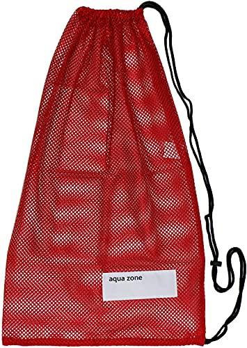 Bolsa de malla con cordón para equipamiento deportivo, para natación, playa, buceo, viajes o gimnasio, Rojo