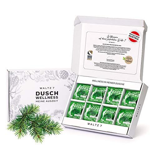 WALTZ7 Fichte Duschbomben Set, mit natürlichen ätherischen Ölen, für die tägliche Entspannung, beruhigender Wald-Duft, Vegane Aromatherapie, beruhigende Wirkung, 16 Tabs