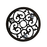 Comfy Hour Rustic Style Outdoor Collection Cast Iron Round Garden Plant Trolley Flowerpot Holder