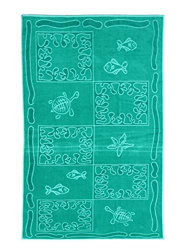 SO MY HOME - Toalla de playa de terciopelo, algodón puro, talla XXL 100 x 200 cm, diseño de tortugas, algodón (Azul laguna)