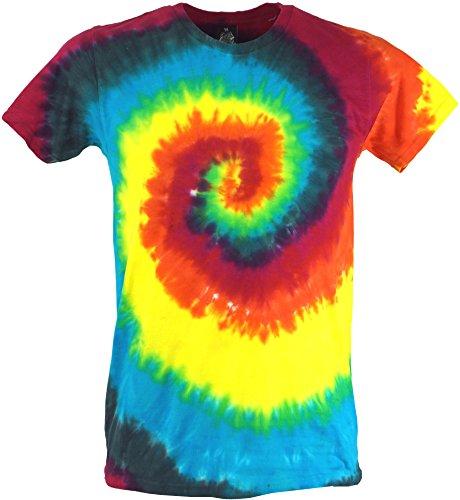 Guru-Shop Regenbogen Batik T-Shirt, Herren Kurzarm Tie Dye Shirt, Spirale 1, Baumwolle, Size:M, Rundhals Ausschnitt Alternative Bekleidung