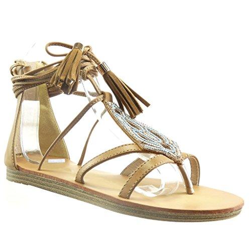 Angkorly - Damen Schuhe Sandalen - Offen - Fransen - Bommel - Perle Flache Ferse 1.5 cm - Camel F615-3 T 39