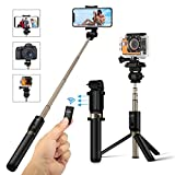 Selfie Stick Stativ mit Fernbedienung, BlitzWolf 4 in 1 Verstellbare Selfie-Stange Stab Monopod bis zu 68cm Verlängerbar für Gopro Kamera iPhone Android Samsung und die meisten Smartphone(Schwarz)