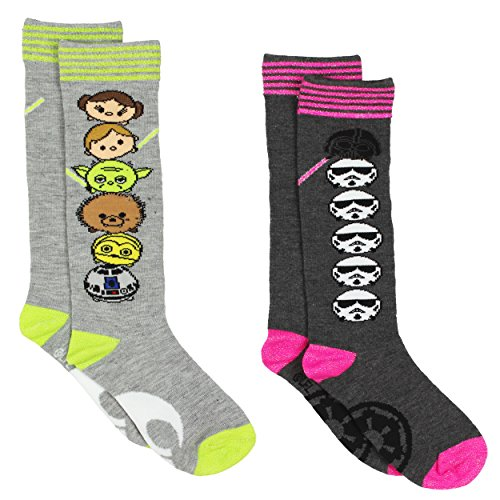 Tsum Tsum Star Wars Girls 2 pack Knee High Socks (6-8 (Shoe: 10-4), Star Wars Grey/Multi)